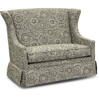 1506G-WHEELING Black and Light Tan Wingback Glider Settee - Weston