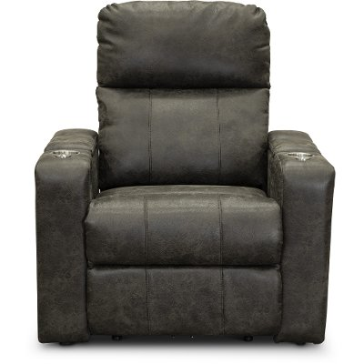 Badlands Charcoal Gray Home Theater Power Recliner - Headliner
