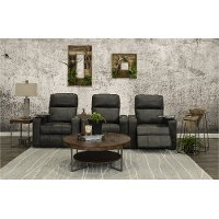 Charcoal Gray 3 Piece Power Home Theater Seating - Headliner