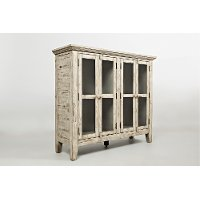 Antique Cream Scrimshaw Accent Cabinet - Rustic Shores