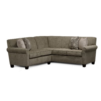Casual Linen Gray 2 Piece Sectional with RAF Sofa - Angie