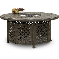 Gray Cast Metal Patio Fire Pit with Accessories - Macan