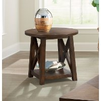 Brown Cherry Round End Table - Cherry