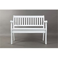 Weathered White Craft Slat Back Storage Bench - Artisan