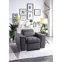 Casual Contemporary Gray Chair with Pullout Ottoman - Ferriday