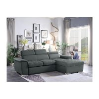 Gray Sectional Sofa with Pullout Sofa Bed and Right-Side Storage Chaise - Ferriday