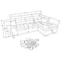 Gray Sectional Sofa With Pullout Sofa Bed And Right Side