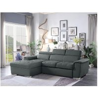 Gray Sectional Sofa with Pullout Sofa Bed and Left-Side Storage Chaise - Ferriday