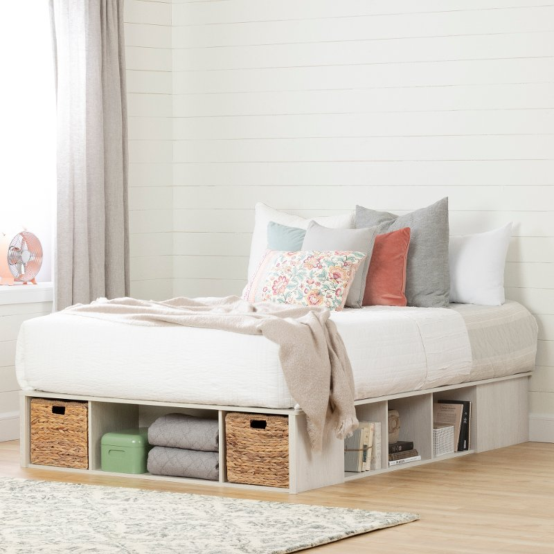 Oak White Queen Storage Platform Bed