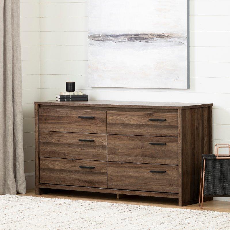 Modern Walnut 6 Drawer Dresser Tao