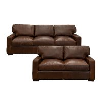 Contemporary Brown Leather 2 Piece Living Room Set - Native