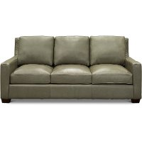 Contemporary Sage Green Leather Sofa - Logan