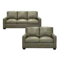 Sage Green Leather 2 Piece Living Room Set - Logan