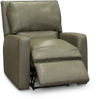 Contemporary Sage Green Leather Power Recliner - Logan
