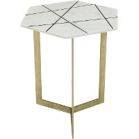 Antique Brass Modern Accent Table with White Marble Top