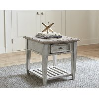 Weathered White Oak End Table with Drawer - Heartland
