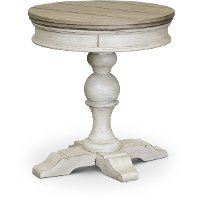 Weathered White Oak and Tobacco Round Chairside Table - Heartland