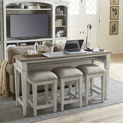 Heartland Weathered Oak Console Table, Sofa Table Desk With Stools