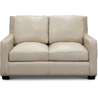 Contemporary Pebble White Leather Loveseat - Logan