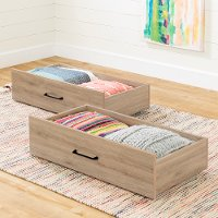 11028 Industrial Modern Rustic Oak Storage Drawers (Set of 2) - Fakto