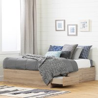 11876 Rustic Oak Full Platform Bed with Drawers - Fakto
