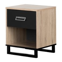 11021 Industrial Modern Rustic Oak and Black Nightstand - Induzy