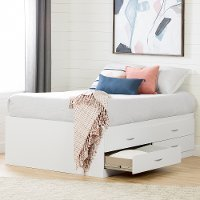 11858 White Captain Full Size Storage Bed with 4 Drawers - Step One