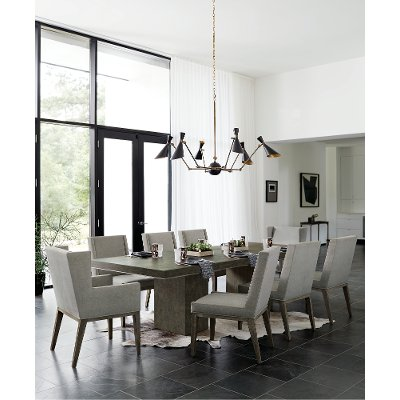Modern Charcoal Upholstered 5 Piece Dining Set Linea Rc Willey Furniture Store