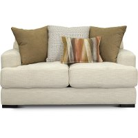 Contemporary Ivory White Loveseat - Carlin
