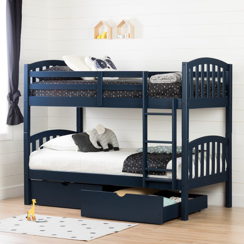 Navy Blue Twin Over Bunk Bed With