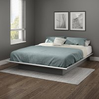 10438 Contemporary Soft Gray Queen Platform Bed - Step One