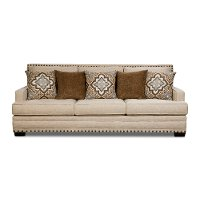 Casual Traditional White Linen Sofa - Anna