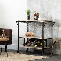 12070 White Oak and Black Industrial Bar Cart - Munich