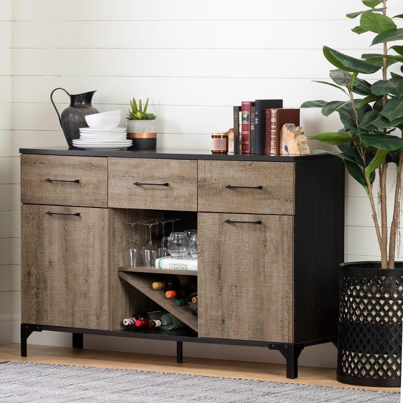 Weathered Oak And Ebony Bar Cabinet Valet