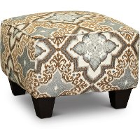 Casual Traditional Brown and Blue Accent Ottoman - Anna