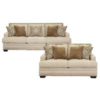 Casual White Linen 2 Piece Living Room Set - Anna