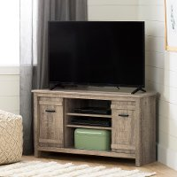 11927 40 Inch Weathered Oak Corner TV Stand - Exhibit