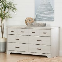 11298 Transitional Pale Gray 6 Drawer Double Dresser - Versa