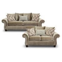 Traditional Taupe 2 Piece Living Room Set - Richmond