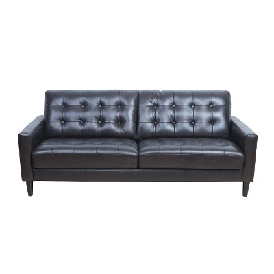 Mid Century Modern Dark Brown Leather Sofa - Ashton