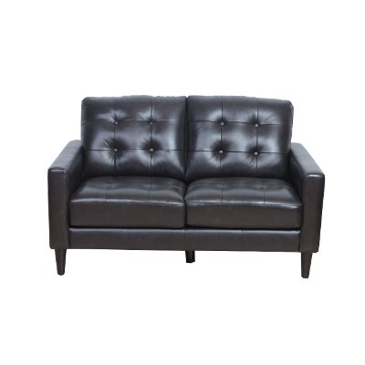 Mid Century Modern Dark Brown Leather Loveseat - Ashton