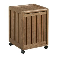Antique Chestnut Solid Wood Mobile Hamper - Abingdon
