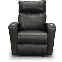 Steel Gray Leather-Match Triple Power Theater Recliner - Carter