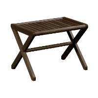 Espresso Brown Solid Wood Large X-Frame Stool - Abingdon