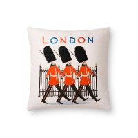 Multi Color Print and Embroidered London Guard Throw Pillow