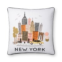 Multi Color Print and Embroidered New York Throw Pillow