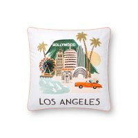 P6009-RP-MULTI Multi Color Print and Embroidered Los Angeles Throw Pillow