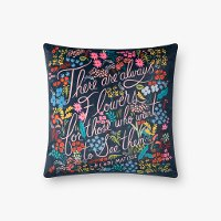 Midnight and Multi Color Flowers Throw Pillow