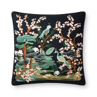 Black and Multi Color Bird Print and French Knot Throw Pillow