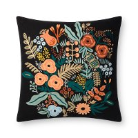 Black and Multi Color Floral Throw Pillow